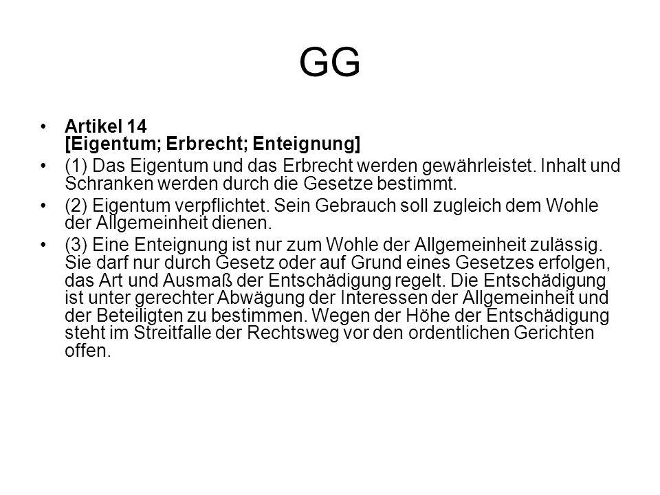 GG Artikel 14 [Eigentum; Erbrecht; Enteignung]